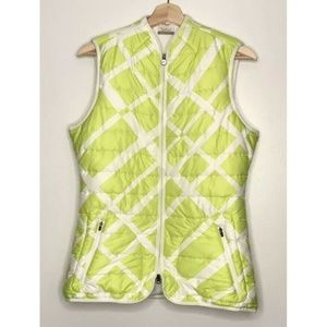 Woman's Nike Golf Lime Green and White Puffer Vest